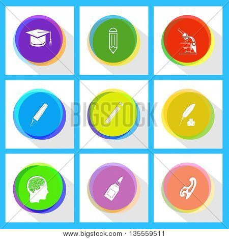 lab microscope, pencil, graduation cap, feather and ink bottle, felt pen, french curve, glue bottle, human brain. Education set. Internet template. Vector icons.