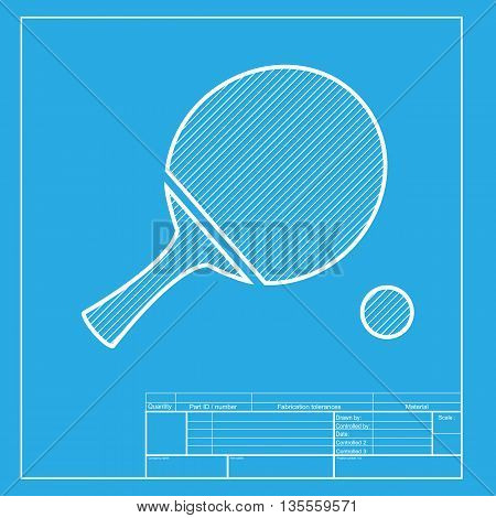 Ping pong paddle with ball. White section of icon on blueprint template.