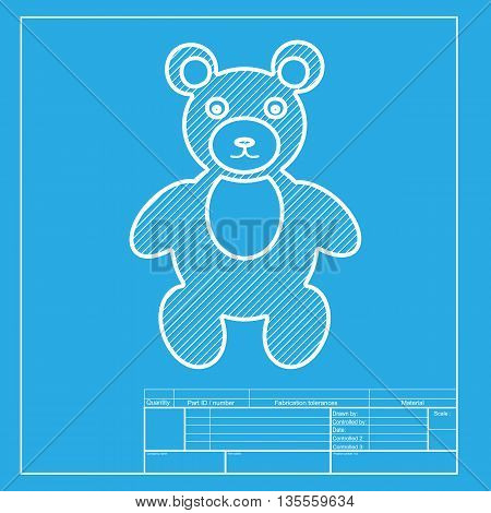 Teddy bear sign illustration. White section of icon on blueprint template.