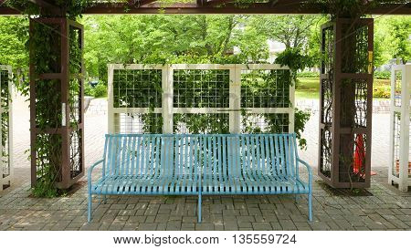 Blue Benches, Green Plants Around The Frame In Public Park