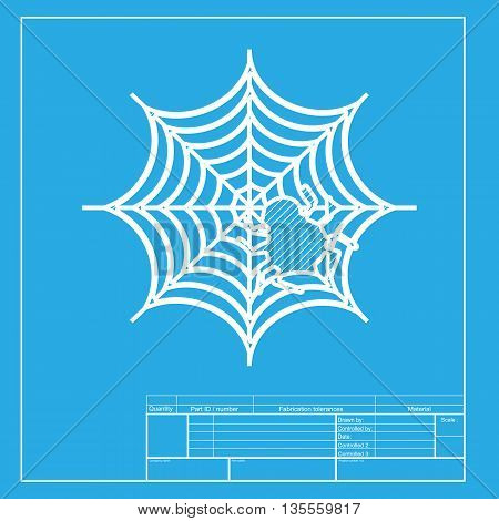 Spider on web illustration White section of icon on blueprint template.