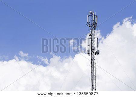 the communication antenna on a sky background
