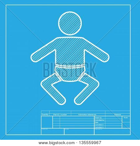 Baby sign illustration. White section of icon on blueprint template.