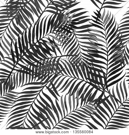 Vector Summer Seamless Pattern With Palm Leaves. Design For Fashion Textile Summer Print, Wrapping P