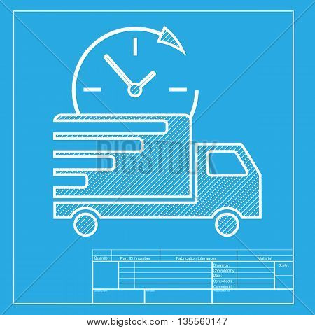 Delivery sign illustration. White section of icon on blueprint template.