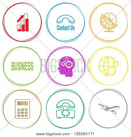 diagram, contact us, globe and clock, business, human brain, globe and gears, calculator, rotary phone, airliner. Business set. Internet button. Vector icons.