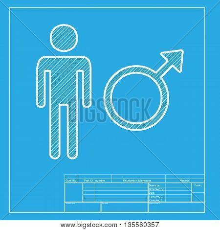 Male sign illustration. White section of icon on blueprint template.