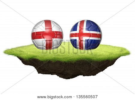 England vs Iceland team balls for football championship tournament, 3D rendering