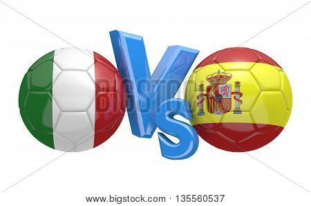 Football competition between national teams Italy and Spain, 3D rendering