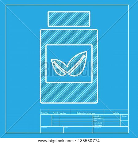 Supplements container sign. White section of icon on blueprint template.