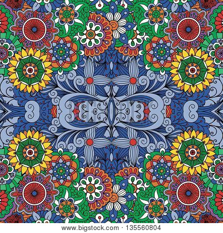 Colorful seamless background with floral designs and full frame intricate geometric patterns