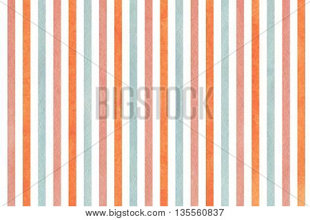 Watercolor Pink, Blue And Orange Striped Background.