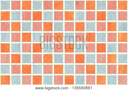 Watercolor Pink, Blue And Orange Squares