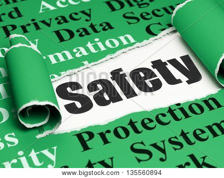 Safety concept: black text Safety under the curled piece of Green torn paper with  Tag Cloud, 3D rendering