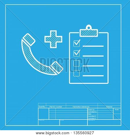 Medical consultration sign. White section of icon on blueprint template.