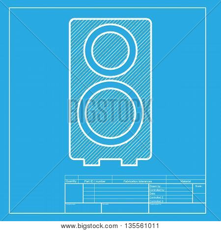 Speaker sign illustration. White section of icon on blueprint template.