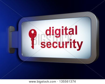 Security concept: Digital Security and Key on advertising billboard background, 3D rendering