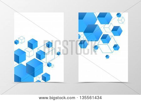 Geometric flyer template design. Abstract flyer template with 3d blue squares. Digital flyer design. Vector illustration