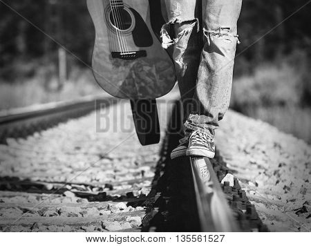 Close up image man legs on the railway
