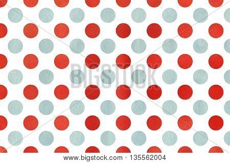 Watercolor Red And Blue Polka Dot Background.
