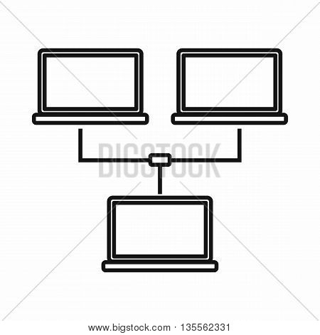 Exchange of data between computers icon in outline style isolated on white background