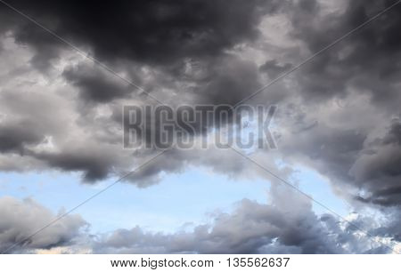 Dark storm clouds before rain with strange cloud shapes