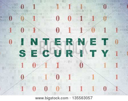 Safety concept: Painted green text Internet Security on Digital Data Paper background with Binary Code