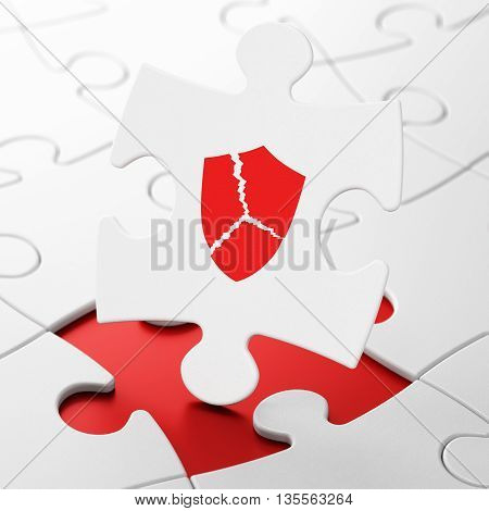 Privacy concept: Broken Shield on White puzzle pieces background, 3D rendering
