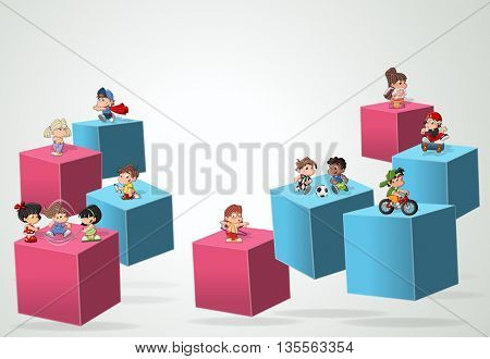 3d cubes with cartoon children playing. Sports and toys. Infographic design.