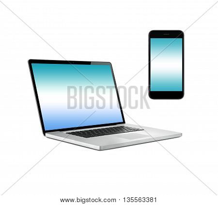 Laptop computer and smartphone isolated on white background