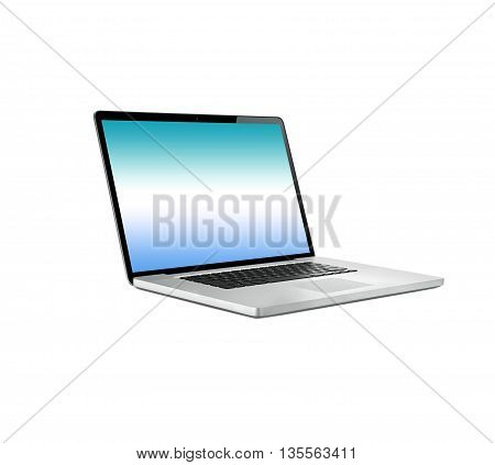 Laptop computer  isolated on white background  single with blue screen