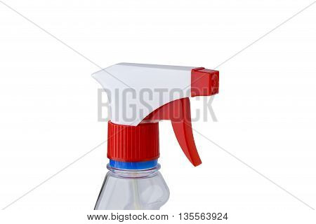 spray with detergent on a white background