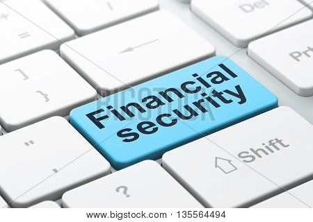 Safety concept: computer keyboard with word Financial Security, selected focus on enter button background, 3D rendering
