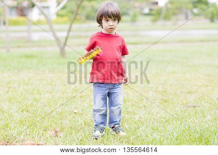 Portrait of Lovely Boy Watering Plants Outdoors