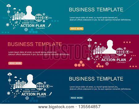 Action Plan Design Illustration Horizontal Banner And Header Template.
