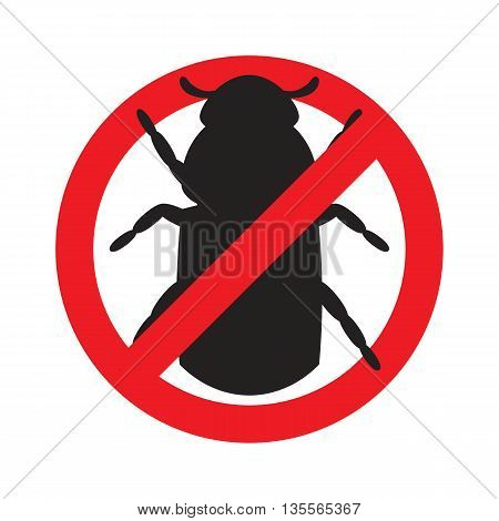 Sign prohibiting bark beetle. Icon bark beetle. Vector illustration.