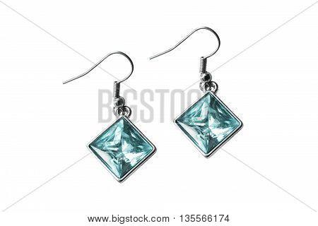 Elegant topaz earrings isolated over white background
