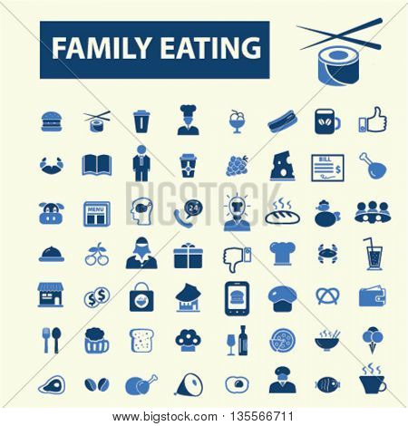 family eating icons