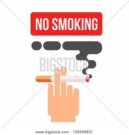 Icons about smoking, illustration flat, the dangers of smoking, health problems due to smoking, hand holding a cigarette, danger to life and limb due to nicotine