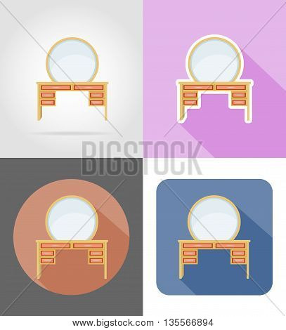 vanity table furniture set flat icons vector illustration isolated on white background