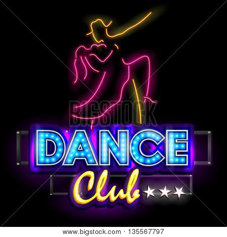 easy to edit vector illustration of Neon Light signboard for Dance Club