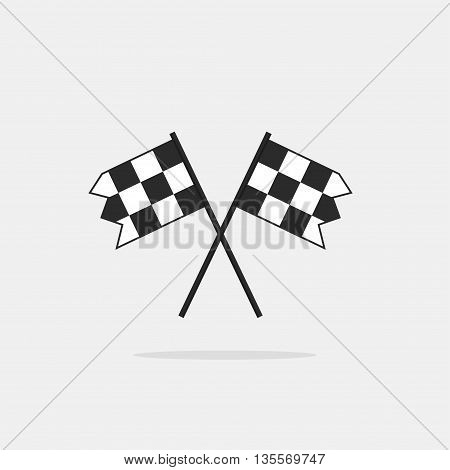Finish flags vector icon isolated on white background, two chequered finishing racing flags
