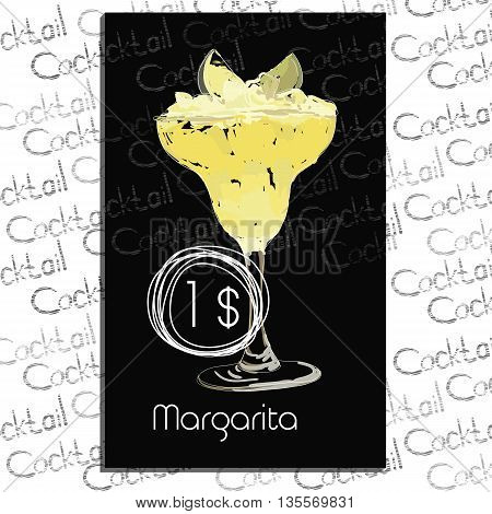 Vector illustration of Cocktail Margarita with price on chalk board. Template elements for cocktail menu. Hand drawn drink for cocktail bar