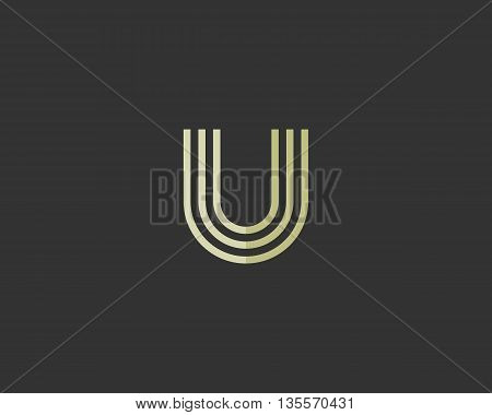 Line letter u logotype. Abstract moving airy logo icon design, ready symbol creative finger print vector sign