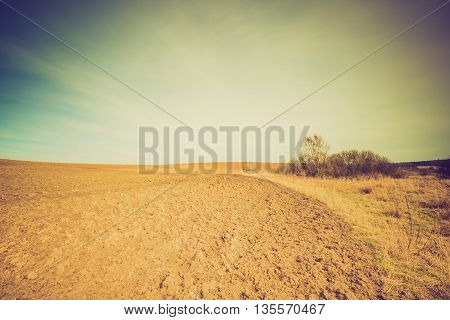 Vintage Photo Of Plowed Field Landscape