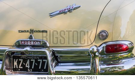GROSSE POINTE SHORES MI/USA - JUNE 19 2016: A 1953 Hudson Hornet car at the EyesOn Design car show, held at the Edsel and Eleanor Ford House, near Detroit, Michigan.