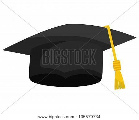 Graduation and University concept represented by graduation cap  icon over flat and isolated background