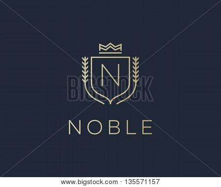Premium monogram letter N initials ornate signature logotype. Elegant crest logo icon vector design. Luxury shield crown sign