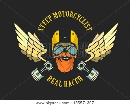 vector emblem retro motorcyclist old skull in a motorcycle helmet on a black background