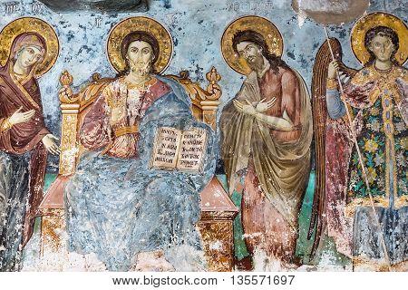 Timeworn Frescoes Of Saints